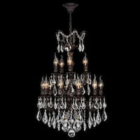 "Worldwide Lighting W83325F21 Versailles 15 Light 2 Tier 21"" Flemish Brass Chandelier with Clear Crystals"