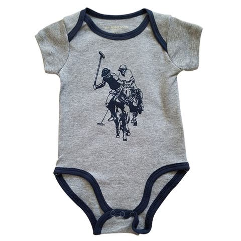 US Polo Association Gray Blue Trim Logo Short Sleeve Bodysuit Baby Boys