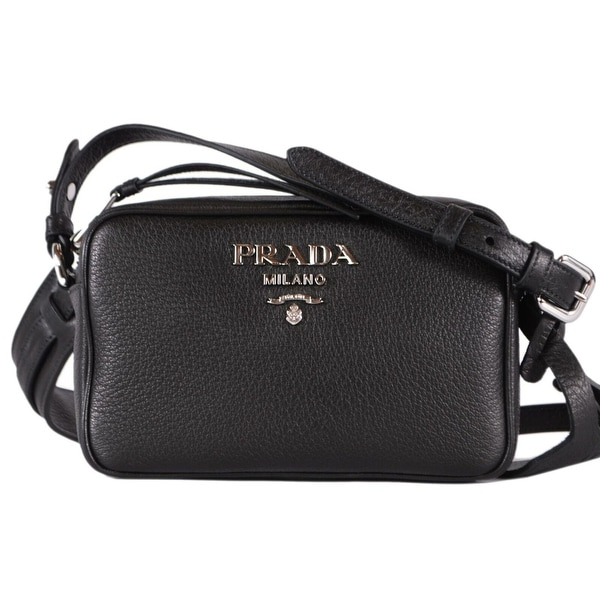 7f96a5738fd702 Prada 1BH096 Black Deer Skin Leather Bandoliera Small Crossbody Purse Bag