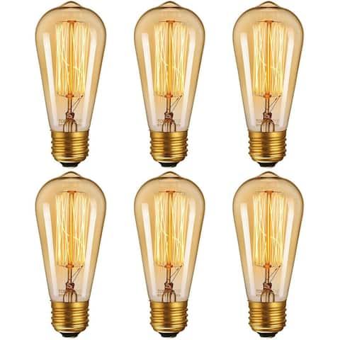 6 Pack Dimmable Industrial Edison ST64 Bulb, Amber Light - 2200K