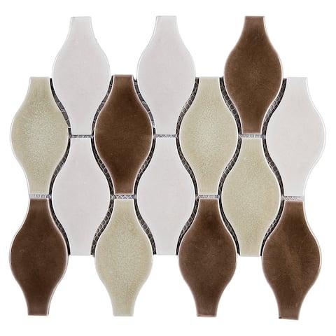"TileGen. Bowling 4"" x 5"" Porcelain Mosaic Tile in Beige/White Floor and Wall Tile (10 sheets/8.2sqft.)"