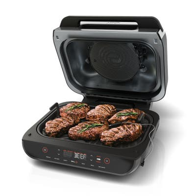Ninja FG551 Foodi Smart XL 6-in-1 Indoor Grill with 4-Quart Air Fryer, Roast, Bake, Dehydrate, Broil, and Smart Cook System