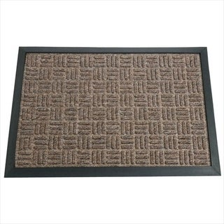 Rubber-Cal Wellington Rubber Carpet Absorbent Door Mat - Brown 47 x 71 x 0.38 in.