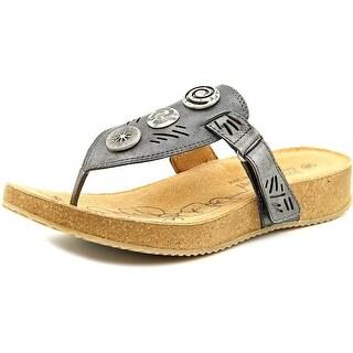 Josef Seibel Tonga 12 Women Open Toe Leather Gray Thong Sandal