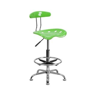 Offex Vibrant Apple Green and Chrome Drafting Stool with Tractor Seat [OF-LF-215-APPLEGREEN-GG]