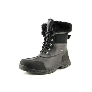 Ugg Australia Butte Men Round Toe Leather Black Snow Boot