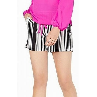 INC Womens Shorts White Black Size XL Mid-Rise Pull-On Striped Tie-Front