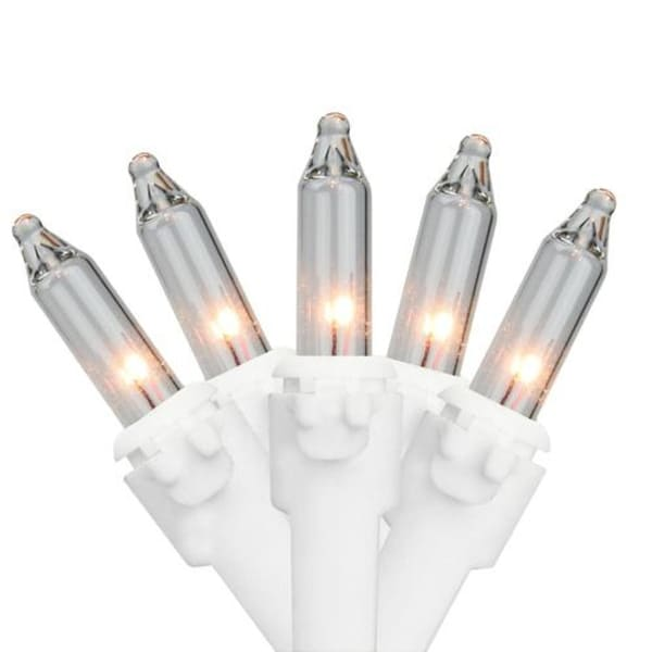"""Set of 10 Clear Mini Christmas Lights 5.25"""" Spacing-White Wire - WHITE"""
