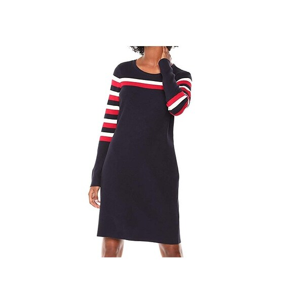 380d32731947 Shop Tommy Hilfiger Blue Womens Size Large L Striped Sweater Dress - On  Sale - Free Shipping Today - Overstock - 27675748