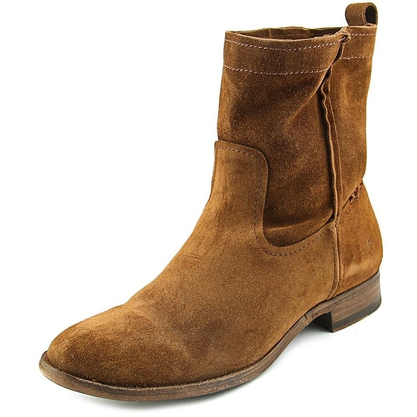Frye Cara Short Women Round Toe Suede Mid Calf Boot