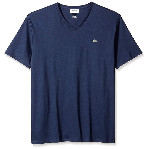 48e449d8 Lacoste Mens T-Shirt Navy Blue Size Small S Logo Embroidered V Neck