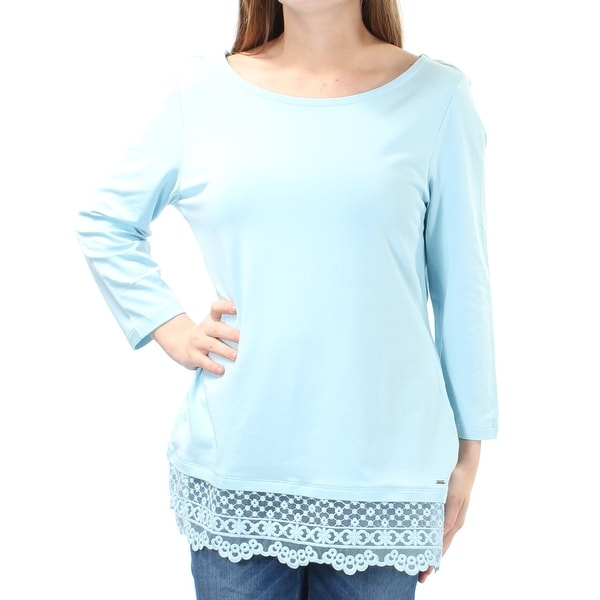 4c73797a Shop TOMMY HILFIGER Womens Light Blue Embroidered 3/4 Sleeve Jewel Neck Top  Size: M - Free Shipping On Orders Over $45 - Overstock.com - 21271446