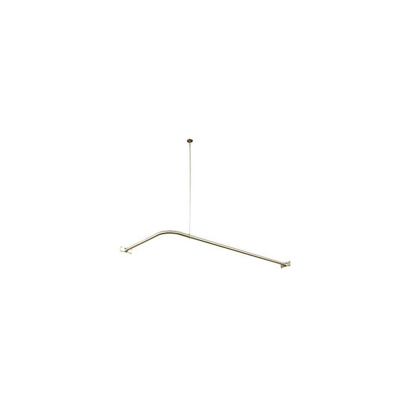 Elements Of Design ED3148 Corner Style Shower Curtain Rod With Ceiling Support From The Vintage Collection