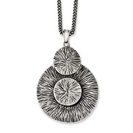 Chisel Stainless Steel Antiqued Circles Necklace - 20 in