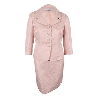 Tahari Women's Bead-Trim Jacket Skirt Suit (16, Pink Pearl) - 16