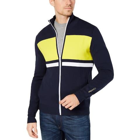 Calvin Klein Mens Sweater Navy Yellow Large Full Zip