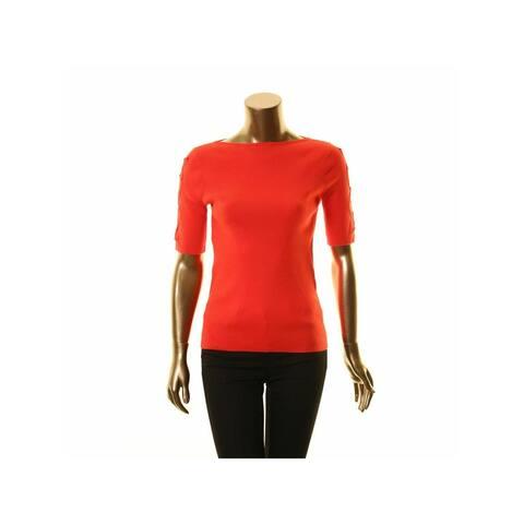 RALPH LAUREN Womens Pink 3/4 Sleeve Jewel Neck Top Size L