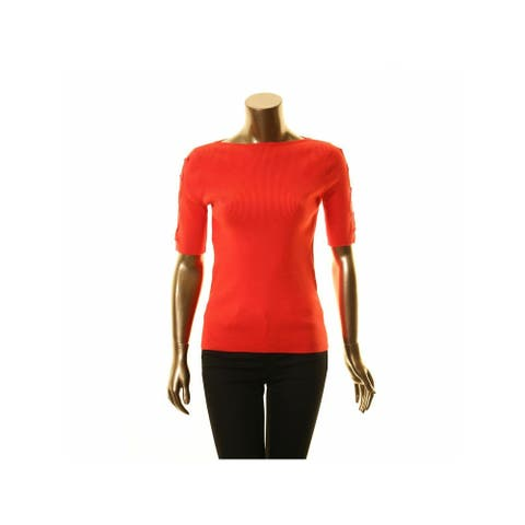 RALPH LAUREN Womens Red 3/4 Sleeve Jewel Neck Top Size S