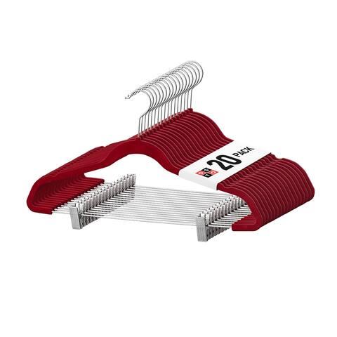 OSTO Burgundy Velvet Non-Slip Pants Hangers with 2 Metal Clips 20-Pack