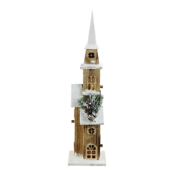 "20.75"" LED Lighted Brown Wooden Snowy Church Christmas Decoration"