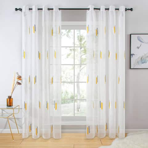 White Sheer Curtain Panels