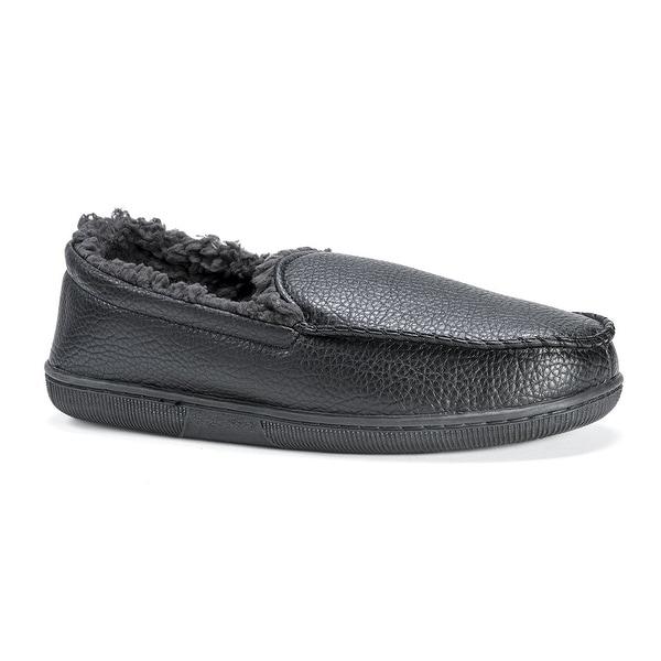 Muk Luks Men's Moccasin-Black Slip-On Loafer - 10.5