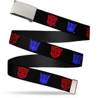 Blank Chrome  Buckle Autobot Decepticon Logos2 Repeat Black Red Blue Web Belt - S