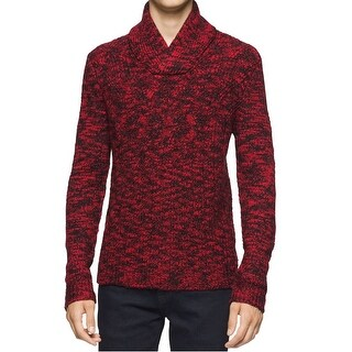 Calvin Klein NEW Red Mens Size XL Shawl-Collar Marled-Knit Sweater