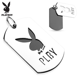 Two Tone Cut Out Stainless Steel Playboy Logo Pendant (28 mm Width)