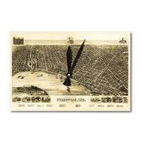 Evansville, Indiana - Panoramic Map (Acrylic Wall Clock) - acrylic wall clock