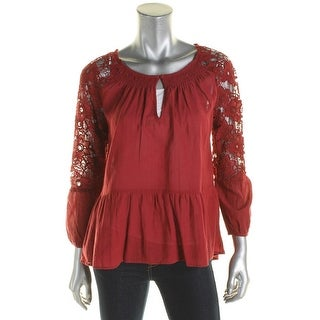Sanctuary Womens Gwen Peasant Top Boho Smocked Red XL