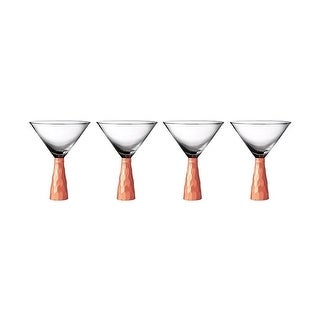Fitz and Floyd Daphne Martini Glasses Set of 4 Copper