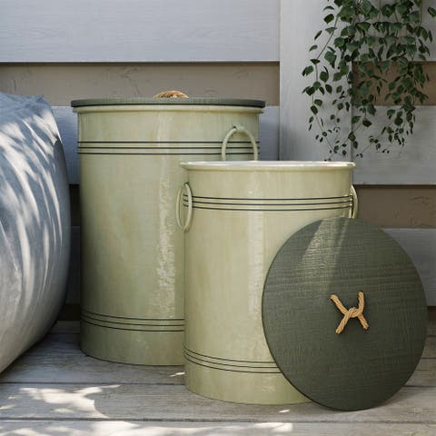 COSIEST Set of 2 Country Farmstyle Storage Barrels,Storage Stools and Table - Set of 2