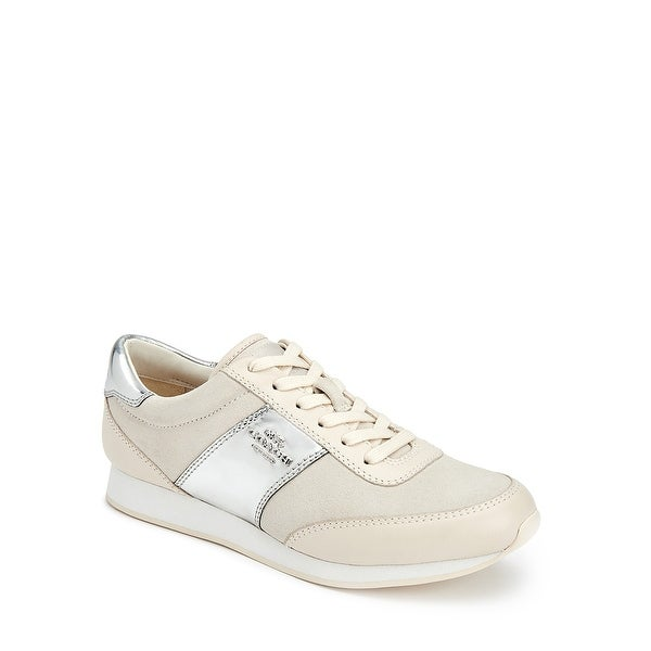 Coach Raylen Suede Mirror Metallic Lace Up Sneakers Chalk/Silver - 7.5 b(m)