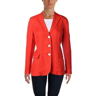 Lauren Ralph Lauren Womens Three-Button Blazer Linen Herringbone