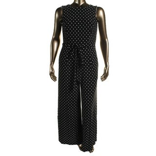Lauren Ralph Lauren Womens Polka Dot Sleeveless Jumpsuit - 16