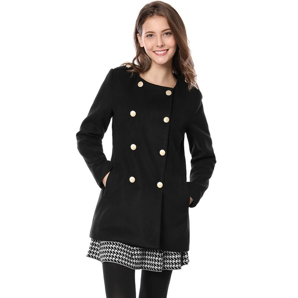 Women Round Neck Long Sleeves Pockets Double Breasted Coat - Black