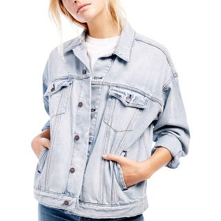 Free People Womens Denim Jacket Distressed Denim - M/L