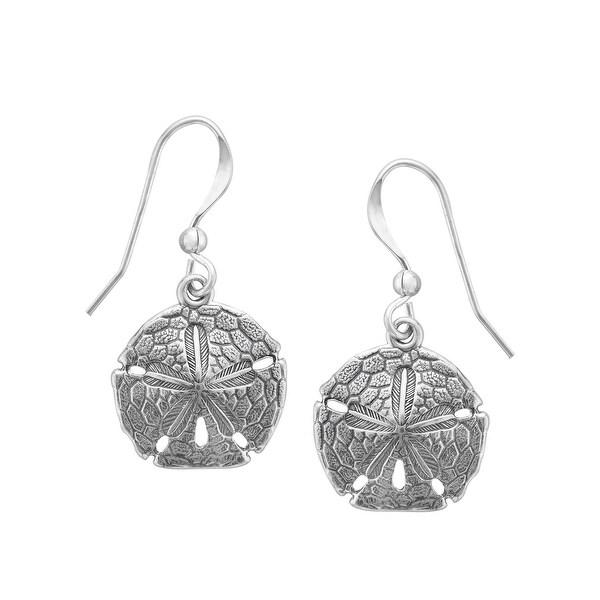 Kabana Sand Dollar Drop Earrings in Sterling Silver - White