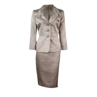 Kasper Women's Metallic Pleated Shawl Collar Skirt Suit - Champagne