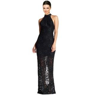 ABS by Allen Schwartz Floral Lace Halter Evening Gown Dress