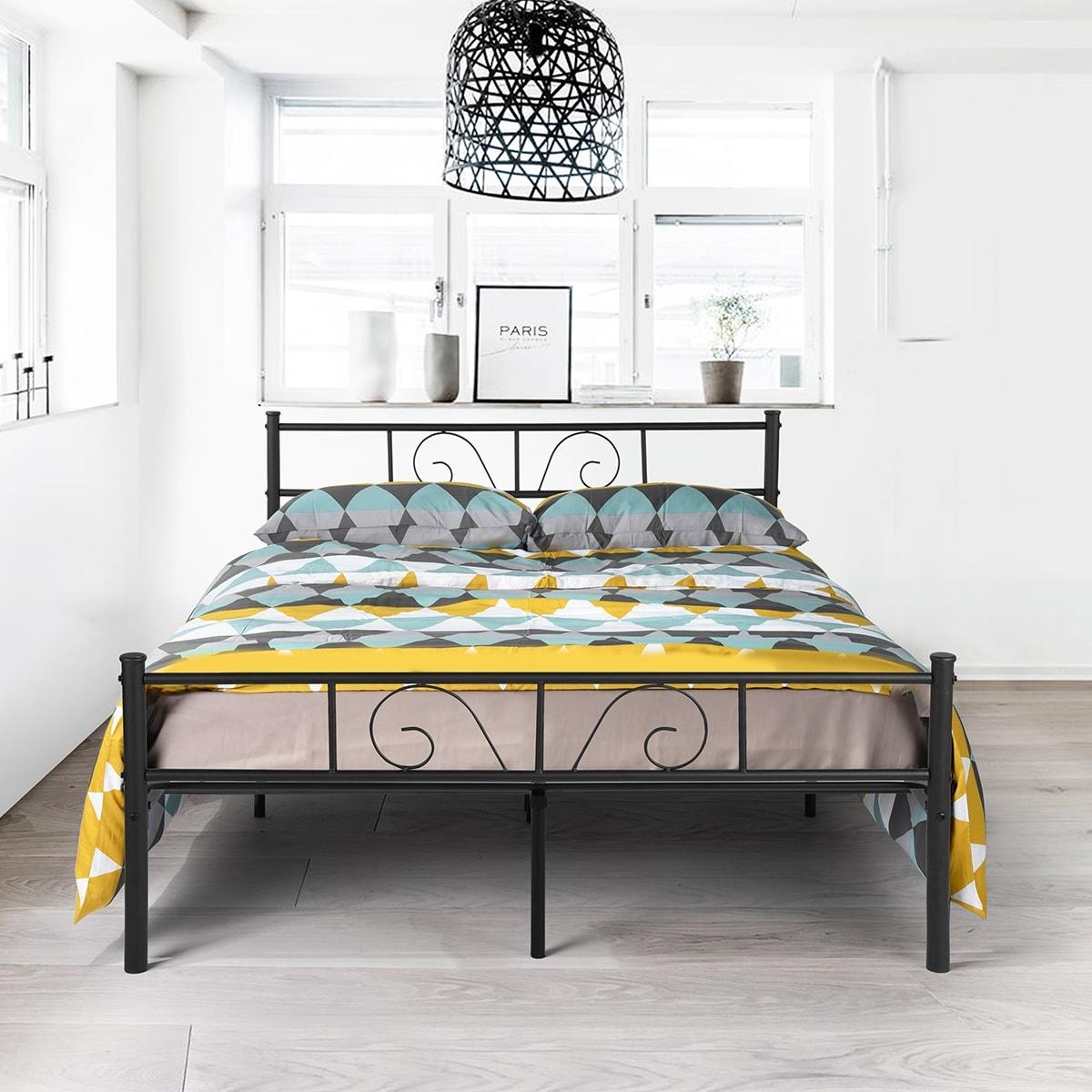 Twin/Full Size Metal Bed Frame Platform Bedroom Furniture with  headboard-white/black