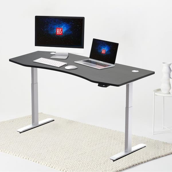 Hi5 Ez Electric Height Adjustable Standing Desk With Ergonomic Contoured Tabletop 71 X 31 50 With 4 Color Options Overstock 32308770