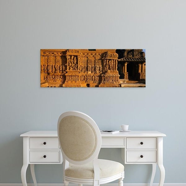 Easy Art Prints Panoramic Images's 'Statues On The Wall Of A Temple, Erklinji Temple, Rajasthan, India' Canvas Art
