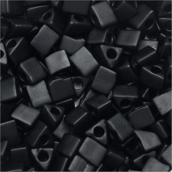 Miyuki, Sharp Triangle Beads 5/0, 7 Grams, Matte Black