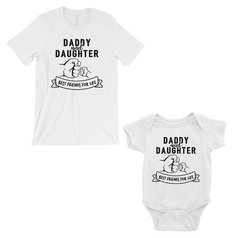 Daddy Daughter Fist BFFL Dad and Baby Matching Outfits White Gift