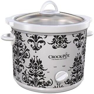 CrockPot Damask Design Classic Manual Slow Cooker, White-Black, 3 Quart