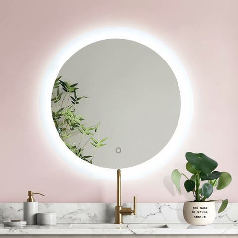 ExBrite 24 Inch Round Led Lighted Bathroom Mirror, Dimmable Anti-fog Wall Mounted Defogger Backlit Makeup Mirror Touch Switch