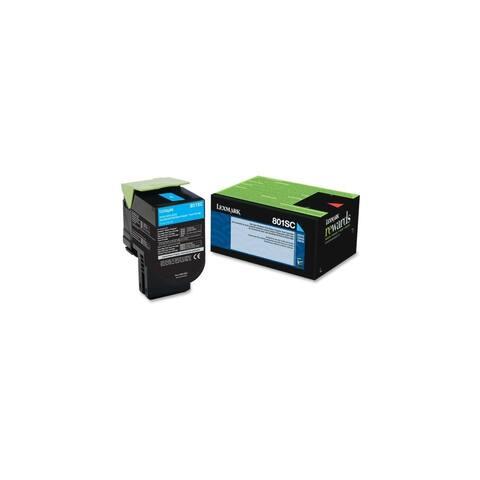 Lexmark 80C1SC0 Lexmark 801SC Cyan Standard Yield Return Program Toner Cartridge - Cyan - Laser - 2000 Page - 1 Each