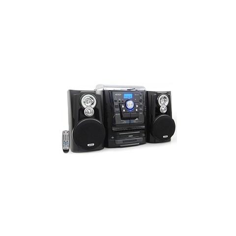 JENSEN JENJMC1250B Jensen JMC-1250 Bluetooth 3-Speed Stereo Turntable and 3 CD Changer with Dual Cassette Deck